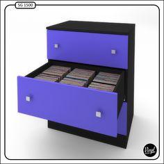 """Vinyl Bop storage cabinet for 7"""" records. / Mueble para discos de 7"""". Capacidad total de 1500 discos (500 por cajón). Cada cajón tiene 6 divisiones interiores. Dimensiones: - Alto: 97 cm. - Ancho: 74.5 cm - Profundidad: 52 cm. Guías de cajón con freno antigolpes. Posibilidad de elegir color. Precio: 450 euros."""