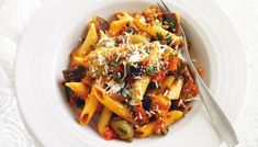 Penne with eggplant caponata: This pasta dish is an easy meat-free weeknight meal full of flavour. Meatless Pasta Recipes, Penne Pasta Recipes, Pasta Dishes, Vegetarian Recipes, Cooking Recipes, Healthy Recipes, Fast Recipes, Delicious Recipes, Eggplant Caponata