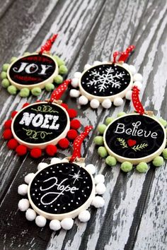 "Chalk Embroidery Mini Hoop Ornaments, DIY and Crafts, Mini Hoop ""Chalk"" Art Christmas Ornaments Great idea for Maddie to do for gifts next year. Easy Christmas Ornaments, Homemade Christmas Decorations, Noel Christmas, Handmade Christmas, Diy Ornaments, Simple Christmas Crafts, Embroidered Christmas Ornaments, Christmas Crafts Sewing, Christmas Pom Pom"