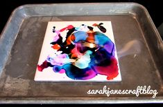 Setting fire to alcohol ink on ceramic tiles diy craft tutorial.