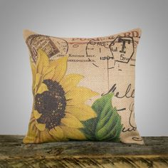 Sunflower Pillow Cover, Burlap Pillow, Cushion, Throw Pillow, French, Feed Sack, Flower,  Accent Pillow, Decorative, Script, Postcard, 16x16