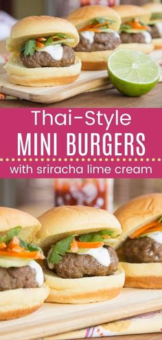 Mini Thai Burgers with Sriracha Lime Cream - these little Asian-inspired burgers have a big kick of flavor from simple pantry ingredients. An easy appetizer or dinner recipe that you can even serve on lettuce wraps for a gluten free or low carb option. Burger Recipes, Grilling Recipes, Beef Recipes, Healthy Recipes, Healthy Meals, Lean Beef Cuts, Creamed Beef, Lime Cream, Mini Burgers