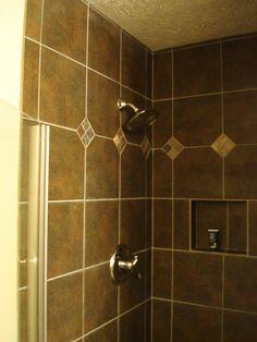 Dark tile shower