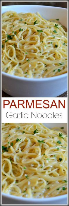 These Parmesan Garlic Noodles are the easiest side dish to make. The boxed version from Rice a Roni is UNHEALTHY. It contains MSG and yellow dyes! This recipe is ready in 15 minutes and has loads of fresh garlic, butter, parsley and cheese!: