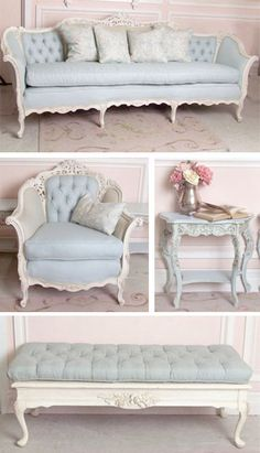 So pretty, French suite, upholsted in Pale Blue Linen and painted in Antique White...