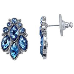 1928 Nickel Free Faceted Stone Cluster Stud Earrings ($15) ❤ liked on Polyvore featuring jewelry, earrings, blue, cluster earrings, cluster stud earrings, blue earrings, metal earrings and nickel free earrings