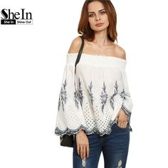 SheIn Ladies White Embroidered Scallop Trim Off The Shoulder Tops Womens Summer Long Sleeve Casual Cotton Blouse aliexpress.com