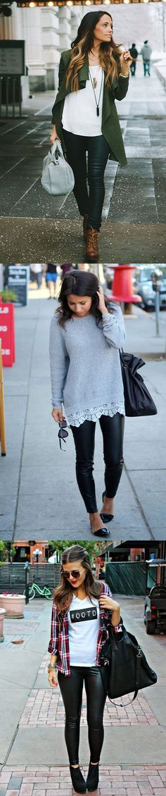 Casual Outfits with Faux Leather Leggings! #fashion
