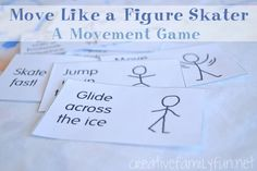 """Love it! """"Move Like a Figure Skater"""" movement game #parenting #toddlers #exercise"""