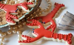 New England theme: lobster cookie Lobster Cake, Red Lobster, Lobster Party, Cut Out Cookies, Cute Cookies, Making Cookies, Crab Shack, Summer Cookies, Cookie Designs