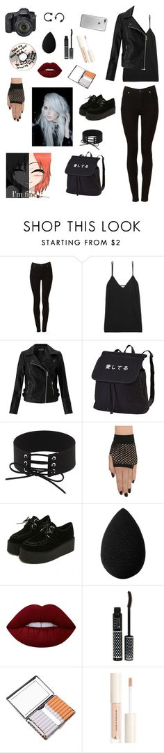 """""""Senza titolo #78"""" by alicemasiero ❤ liked on Polyvore featuring Cheap Monday, Equipment, Eos, Miss Selfridge, beautyblender, Lime Crime, LORAC and H&M"""