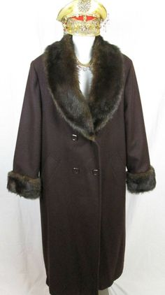 JP 1893 Brown Wool Coat with Faux Fur Collar & Faux Fur Cuffs #JP1893 #BasicCoat
