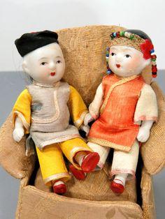 Vintage Asian Boy & Girl Bisque Dolls 1930s by UrbanRenewalDesigns
