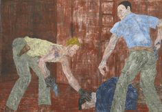 Leon Golub (American, 1922-2004), White Squad X, 1986. Acrylic on unstretched canvas with metal grommets, 308.6 x 431.8 cm.