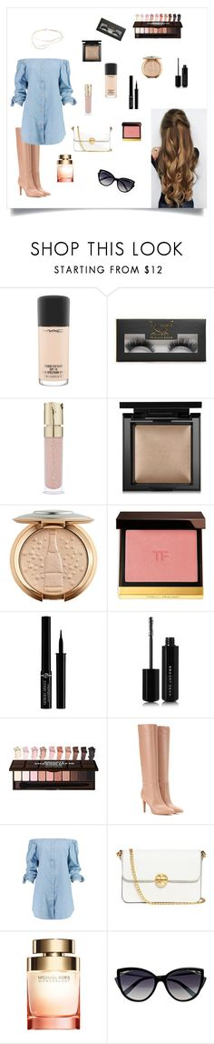"""""""A busy day"""" by madisonbreann ❤ liked on Polyvore featuring MAC Cosmetics, Boohoo, Smith & Cult, Bare Escentuals, Tom Ford, Giorgio Armani, Marc Jacobs, Gianvito Rossi, Tory Burch and La Perla"""