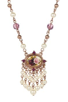 1928 Jewelry  Rose Gold Simulated Pearl Amethyst Flower Necklace