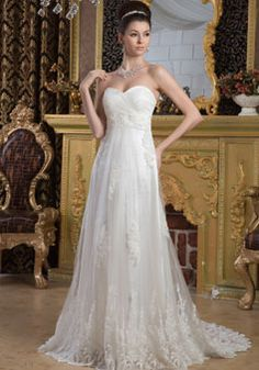 A-line Empire Tulle Appliques Sleeveless Wedding Dress picture 1
