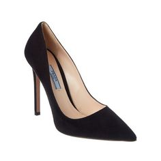Prada Prada Suede Pointy-Toe Pump (12 895 UAH) ❤ liked on Polyvore featuring shoes, pumps, suede shoes, pointy toe pumps, high heel shoes, black shoes and suede pumps