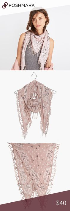 NWOT Madewell diamond shaped print scarf New without tags! I bought this and took the tags off but never wore it- color isn't the best in me. Beautiful silk blend scarf in soft pink print. Please see last picture for measurements and material info. Open to offers! Madewell Accessories Scarves & Wraps