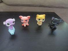LPS Lot of 4 black cat licking cat Pig RodEnt Littlest Pet Shop #LPS