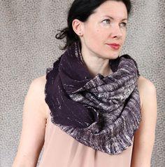 Merino wool felted scarf infinity cowl hood cobweb by aureliaLT