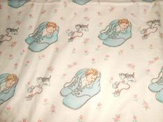 Vintage 50s Baby Nursery Fabric Soft Cotton Flannel Baby Shoes Kitten Print OOP  #Unbranded