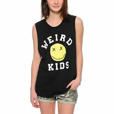 Glamour Kills teamed up with pop punk band We Are The In Crowd to bring you the Stay Weird Black muscle tee shirt for women. This muscle tee shirt for women is a boyfriend fit with cut-off sleeves for a stylish look, while the soft and lightweight cotton