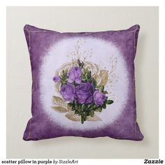 Pretty Purple Roses on Shades of Purple with Gold Throw Pillow - gold gifts golden diy custom Gold Throw Pillows, Designer Throw Pillows, Elegant Home Decor, Vintage Home Decor, Gold Gifts, Purple Roses, Shades Of Purple, Floral Flowers, Custom Pillows