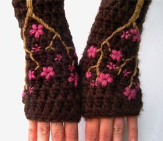 Love these! Must try!  Cherry Blossom Fingerless Gloves - Chocolate Brown and Pink - Made to Order. $43.00, via Etsy.