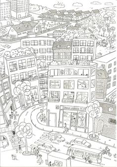 city coloring pages boutique dessin Paisley Coloring Pages, Quote Coloring Pages, Preschool Coloring Pages, Fairy Coloring Pages, Printable Coloring Pages, Coloring Pages For Kids, Coloring Sheets, Coloring Books, Kids Coloring