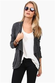 Ellie Open Cardigan - Charcoal