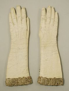 Gloves  Date: ca. 1735 Culture: French (probably) Medium: leather, silk, gold