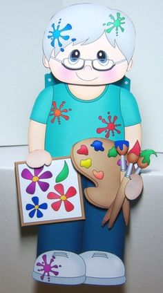 3D On the Shelf Card Kit - Little Artist Orlando is being very creative in the Studio by Katie Silver