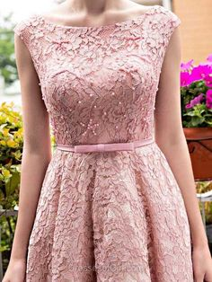 A-line Scoop Neck Lace Tea-length Sashes / Ribbons  Lace-up Sweet Prom Dresses