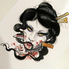 I incredibly fancy the designs, lines, and fine detail. This is really a really great idea if you want a Irezumi Tattoos, Skull Tattoos, Body Art Tattoos, Tribal Tattoos, Sleeve Tattoos, Tattoo Sketches, Tattoo Drawings, Japanese Demon Tattoo, Hanya Tattoo