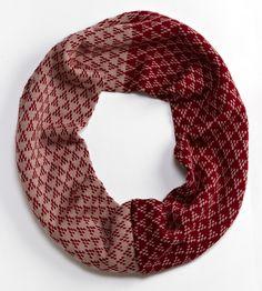 Cherry & Mauve Triangle Merino Wool Infinity Scarf
