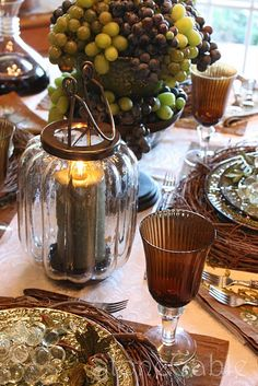 vineyard table~ use grapevine wreaths as chargers
