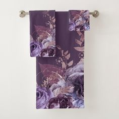 Dark Purple Bathroom, Lavender Bathroom, Purple Gold, Purple And Black, Bathroom Towel Decor, Bathroom Inspo, Bathroom Sets, Botanical Bathroom