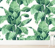 Add a tropical feel and a splash of color to their wall with this vibrant wallpaper decorated with lush palm leaves. Simply peel, stick and voila – an instant update to their unique space that's easy to clean thanks to a wipe-clean fin… How To Apply Wallpaper, Peel And Stick Wallpaper, Palm Wallpaper, Wallpaper Samples, Wallpaper Roll, Crystal Room, Designer Friends, Eco Friendly Paper, Smooth Walls