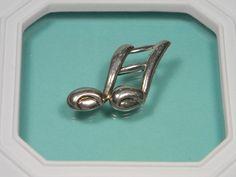 Vintage Brooch Music Note Sterling Silver Figural by dianadivine