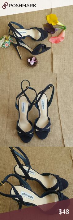 Steve Madden Blue Suede Xandy Stiletto Sandal Heel This strappy sandal is great for any occasion. They have an adjustable strap with a gold buckle. New without box or tags. Steve Madden Shoes Heels