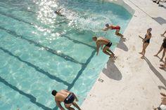 Overhead of swimmers diving into Bondi Icebergs pool. Bondi Icebergs, Palm Trees Beach, Clear Blue Sky, Bondi Beach, Beach Picnic, Turquoise Water, Australia Travel, Lonely Planet, Snorkeling