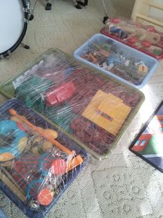 When moving toys...no need to put them in a packing box....just use cellophane to wrap the individual boxes!! No toys lost!