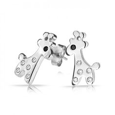 Bling Jewelry 925 Sterling Childrens Tiny Giraffe Stud Earrings Clear Black CZ