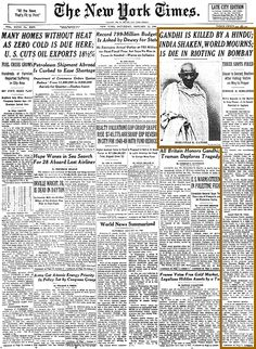 The New York Times reports Mahatma Gandhi's January 1948 assassination. Mahatma Gandhi Photos, Indira Ghandi, Martyrs' Day, Indian Freedom Fighters, India Facts, History Of India, Vintage India, Old Advertisements, Black History Facts
