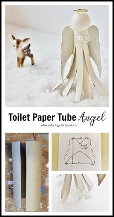 Make a darling toilet paper tube angel ornament out of a couple of TP tubes, some paint, & a few other items you may have on hand. Paper Towel Crafts, Paper Towel Tubes, Toilet Paper Roll Crafts, Christmas Angel Crafts, Kids Christmas, Christmas Ornaments, Holiday Crafts, Christmas Poinsettia, Preschool Christmas
