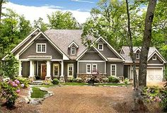 I like the colors and exterior style 06202 Lodgemont Cottage, Front Elevation, Craftsman Style House Plans, Terrace Level House Plans