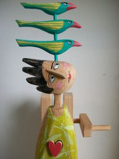 Green Bird Lady Love Machine by OPISHOP on Etsy