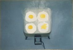 "Vija Celmins. ""Eggs,"" 1964. Oil on canvas. 24 1/4 x 35 1/4 in. Museum of Contemporary Art San Diego"