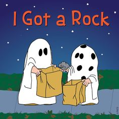 """I got a Rock"". Poor Charlie Brown, from 'It's the Great Pumpkin Charlie Brown', Snoopy and the Peanuts Gang. Snoopy Halloween, Charlie Brown Halloween, Great Pumpkin Charlie Brown, It's The Great Pumpkin, Halloween Rocks, Holidays Halloween, Vintage Halloween, Happy Halloween, Halloween Scene"